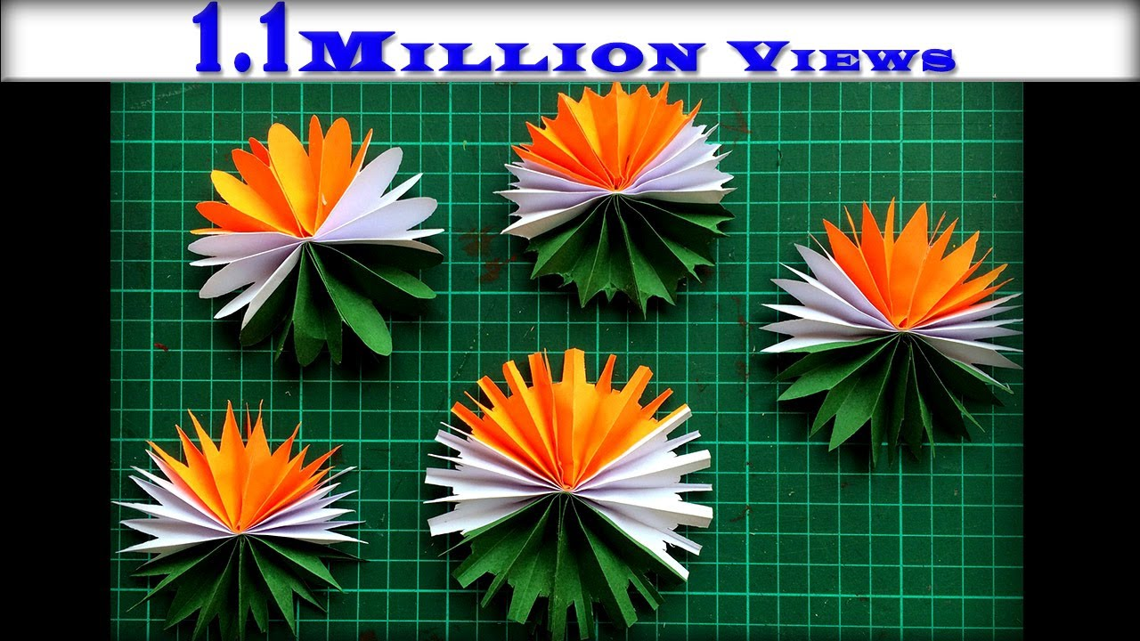 Diy Paper Flower Making Tricolor Republic Day Craft