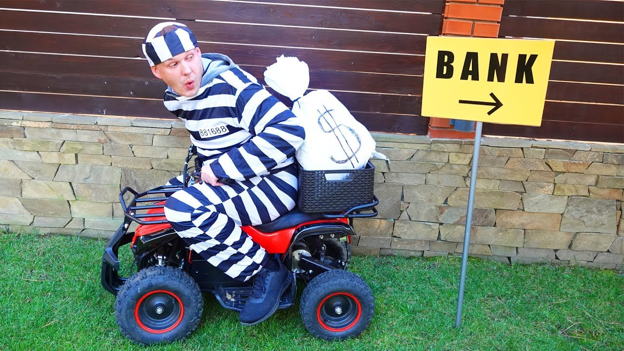 Dima pretend play as Cop Police on power wheels cars