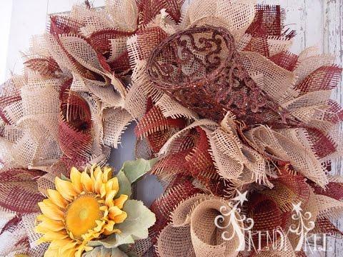 Burlap Paper Mesh Autumn Wreath Tutorial Youtube