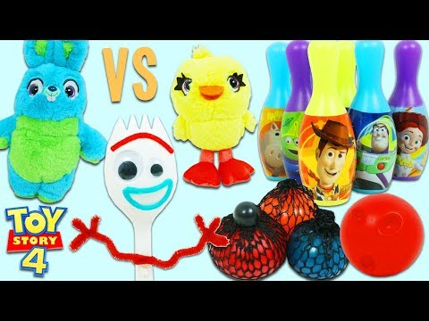 Disney Pixar Toy Story 4 Forky's Game Show | Ducky vs Bunny Play For Surprise Toys!
