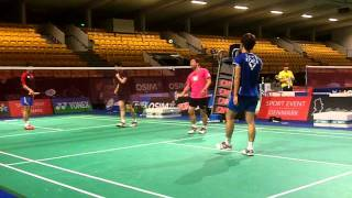 Lee Yong Dae and Jung Jae Sung train in Odense Sports hall