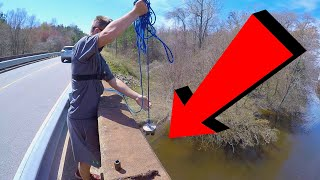 Magnet Fishing With A 1000lb Magnet From an Old Bridge