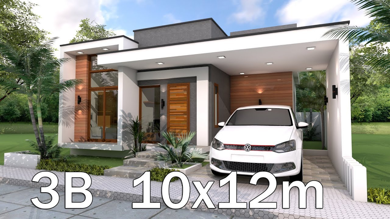 home blueprint design modern home plan 10x12m with 3 bedrooms youtube 2256