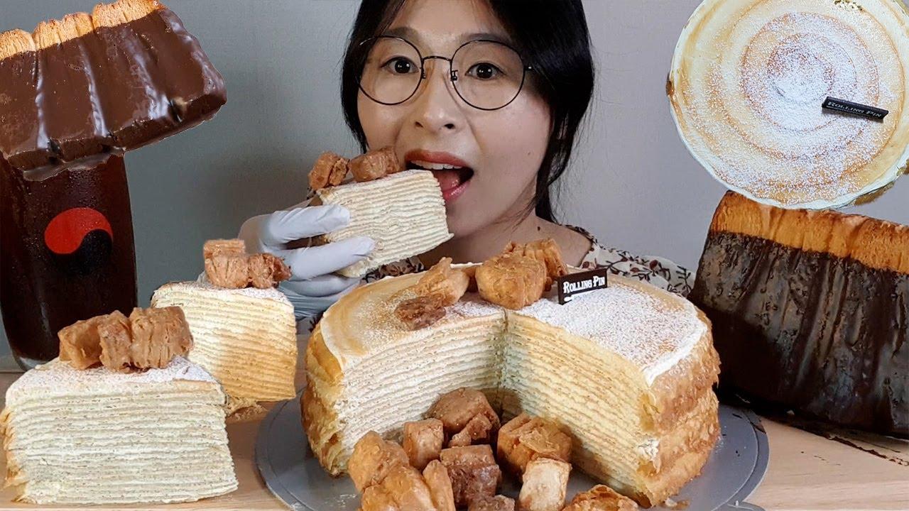 SUB)CARAMEL CREPE CAKE ASMR MUKBANG😍달달한 카라멜 크레이프 케이크 초코빨미까레 디저트먹방/キャラメルクレープケーキ