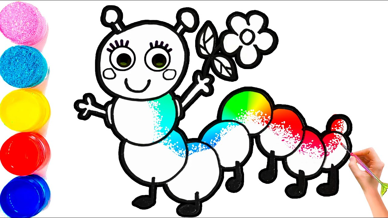 Рисунок и раскраска гусеница для детей #23 - YouTube