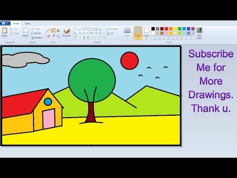 How to Draw House Art in MS Paint | Simple Children Art in ...