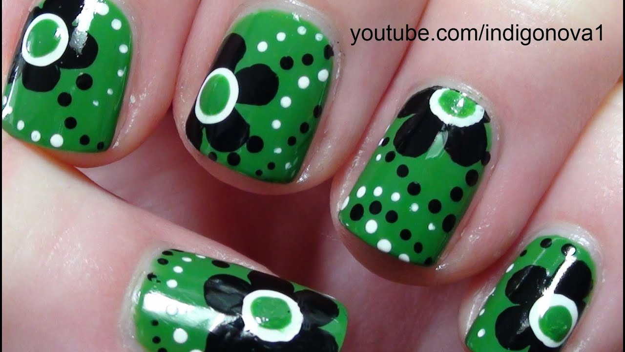 Green and Black Flowers Nail Art Tutorial - YouTube