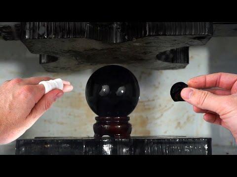 obsidian-crystal-ball-crushed-by-hydraulic-press-|-i-cut-my-finger