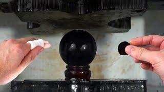 Obsidian Crystal Ball Crushed By Hydraulic Press | I Cut My Finger