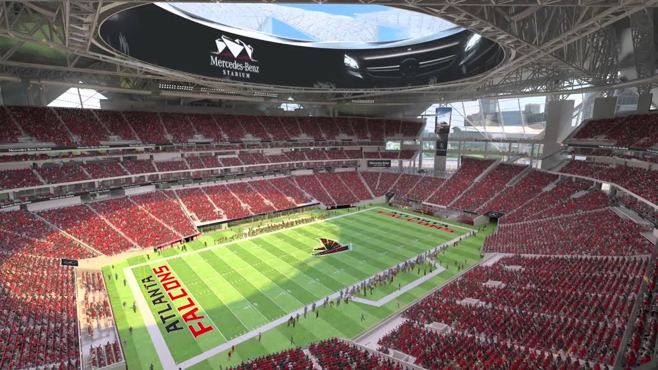 Mercedes benz stadium animation youtube for Address of mercedes benz stadium
