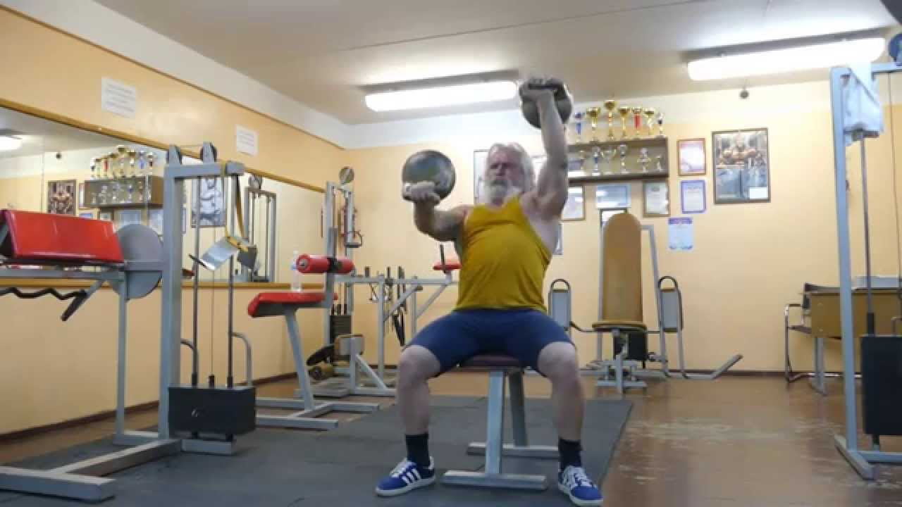 Упражнения с гирями и отжимания - YouTube