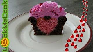 Капкейк ВАЛЕНТИНКА. Шоколадные капкейки с сердцем на 14 февраля. Капкейк на день влюбленных.