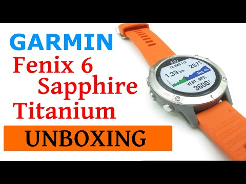 Garmin Fenix 6 Sapphire Titanium With Ember Strap Unboxing HD (010-02158-14)