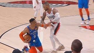 Russell Westbrook Shoved By Damian Lillard! Thunder vs Trail Blazers Game 2 2019 NBA Playoffs