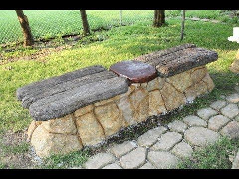 Constructing Two Faux Rock, Faux Bois Concrete Benches