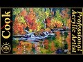Autumn Lake Reflections  an Beginner Acrylic Painting Tutorial Impressionist Style