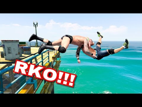 GTA V WRESTLING LIKE IN WWE #3 (Spinebuster, RKO, AA, and more)