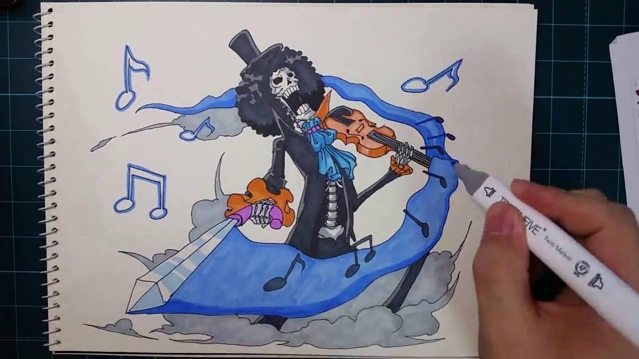 speed drawing One Piece brook   원피스 브룩 (팬티 보여주세요~) - YouTube