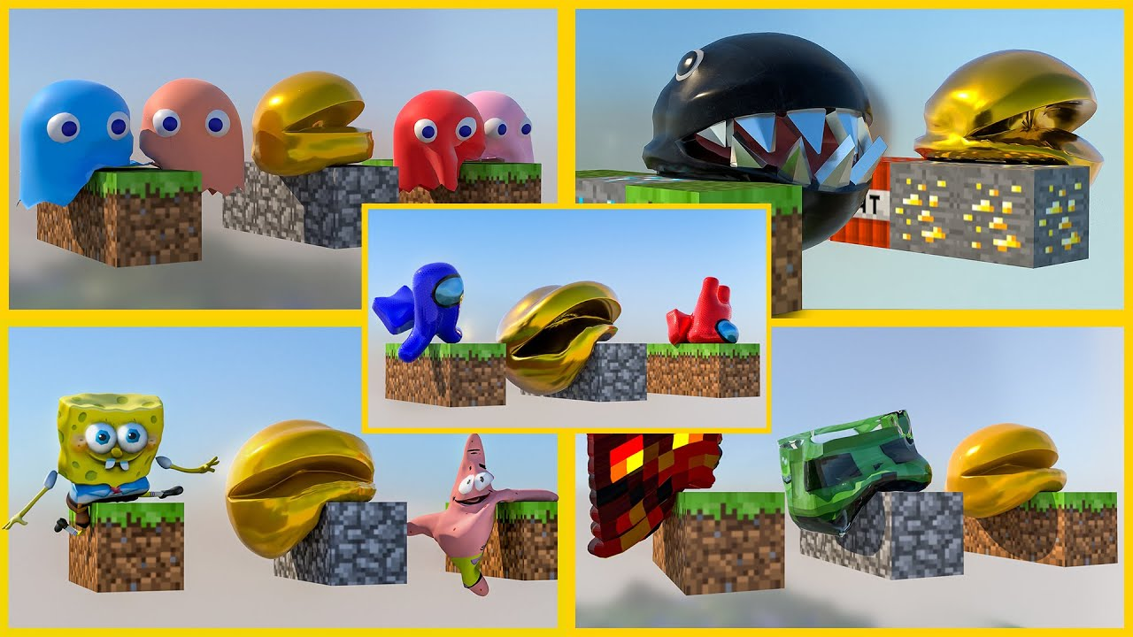 Pacman and Friends - Softbody Simulation Compilation - Oddly satisfying V3