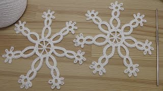 Снежинка крючком  Урок вязания  How to crochet snowflake