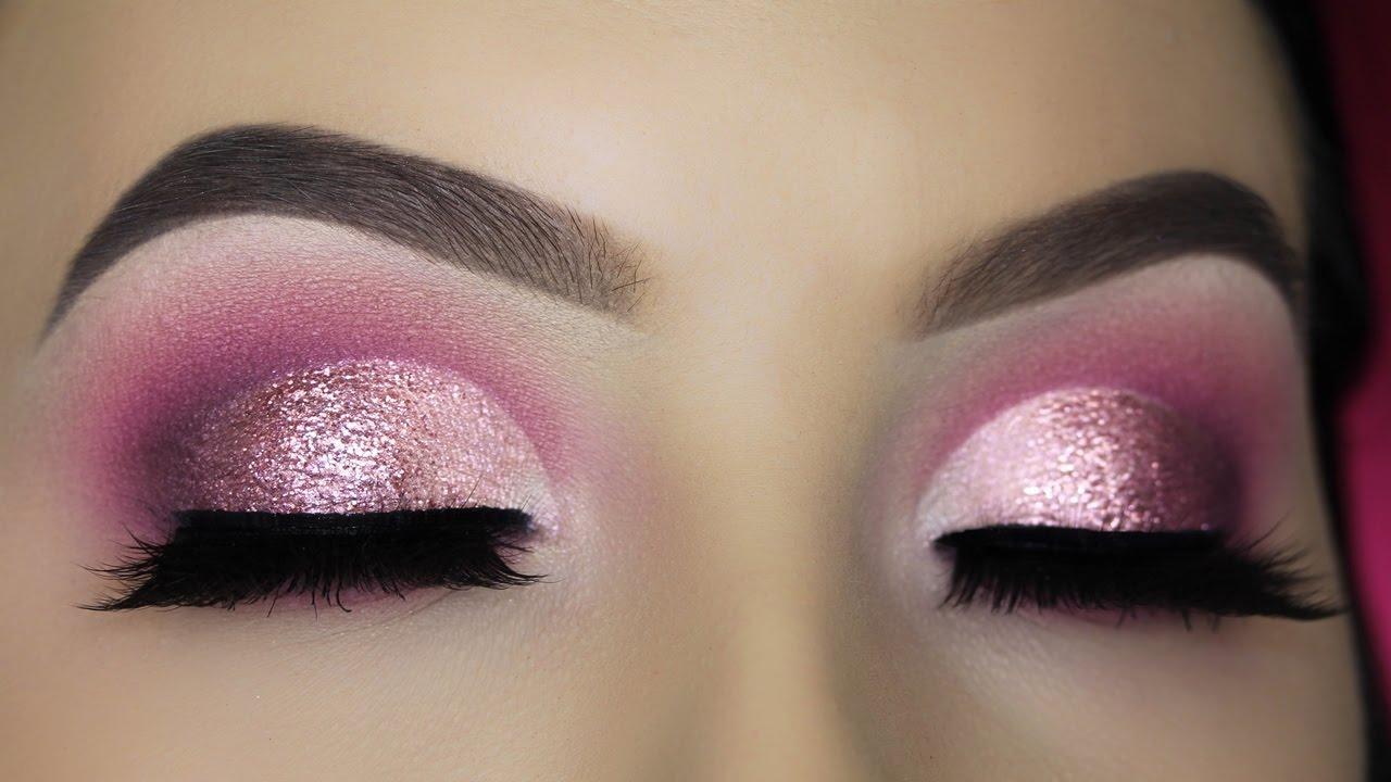 Berry Pink Glitter Half Cut Crease Tutorial Youtube