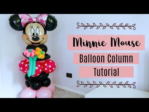 MINNIE MOUSE BALLOON COLUMN TUTORIAL || MINNIE MOUSE BALLOON DECORATION || NO HELIUM BALLOON DECOR