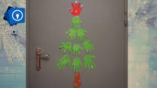 Новогодний декор из бумаги // Елка из ладошек своими руками