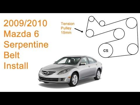 mazdaspeed 6 engine diagram 2009 2010 mazda 6 serpentine belt replacement diy youtube  2009 2010 mazda 6 serpentine belt