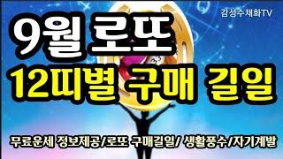 """""""12띠별 로또 구매하면 좋은 길일과 방위~9월달""""9월은 편재의 기운이 강한 로또를 노려볼…"""