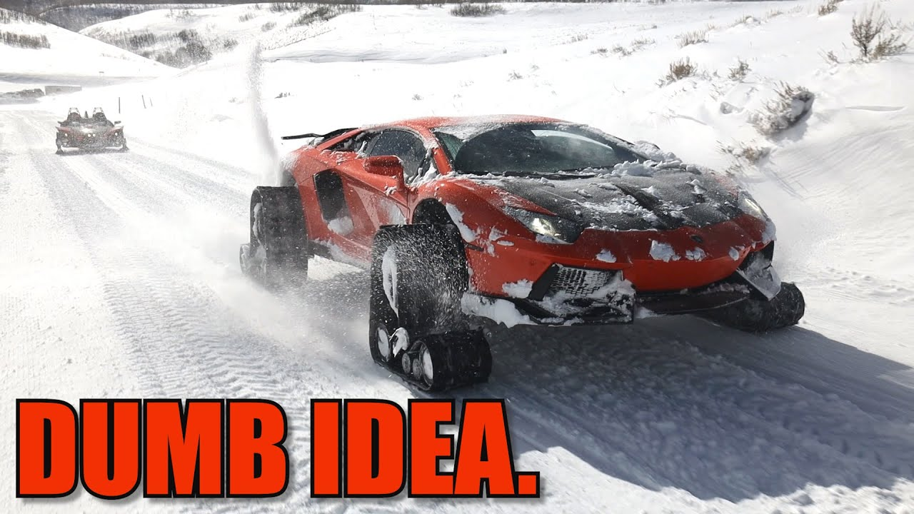 Lamborghini on Snow Tracks is a Disaster - download from YouTube for free