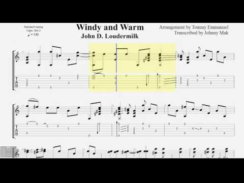 Windy and Warm TABS Tommy Emmanuel fingerstyle guitar