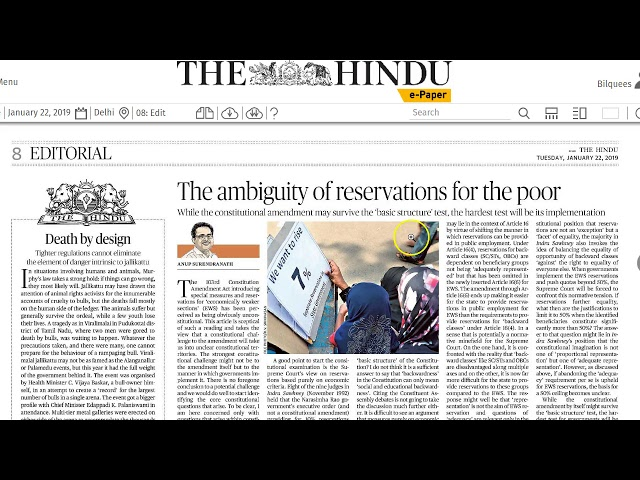 22 January 2019 Current Affairs The Hindu  Important Headlines  by Mrs Bilquees Khatri