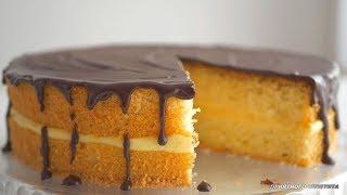 Бостонский кремовый торт/пирог/Boston cream pie - бисквитный торт с заварным кремом
