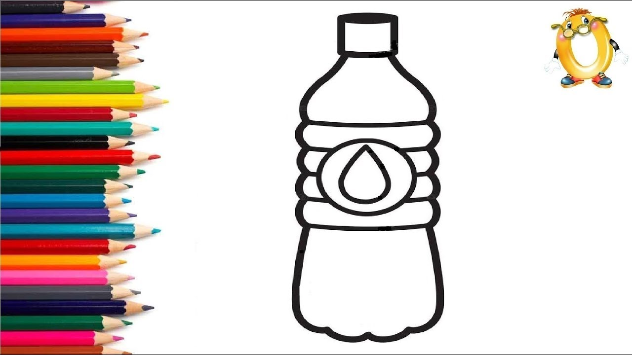 Раскраска для детей БУТЫЛОЧКА С ВОДОЙ. Мультик - Раскраска ...