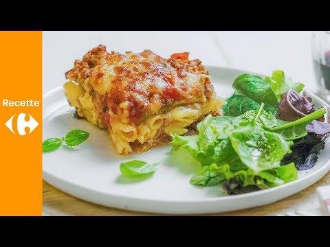 aubergines-à-la-viande-hachée,-sauce-tomate,-mozzarella-et-penne
