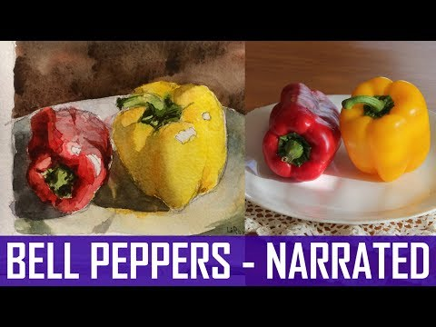 Watercolor Tutorial for Beginners: How to Draw and Paint Two Bell Peppers