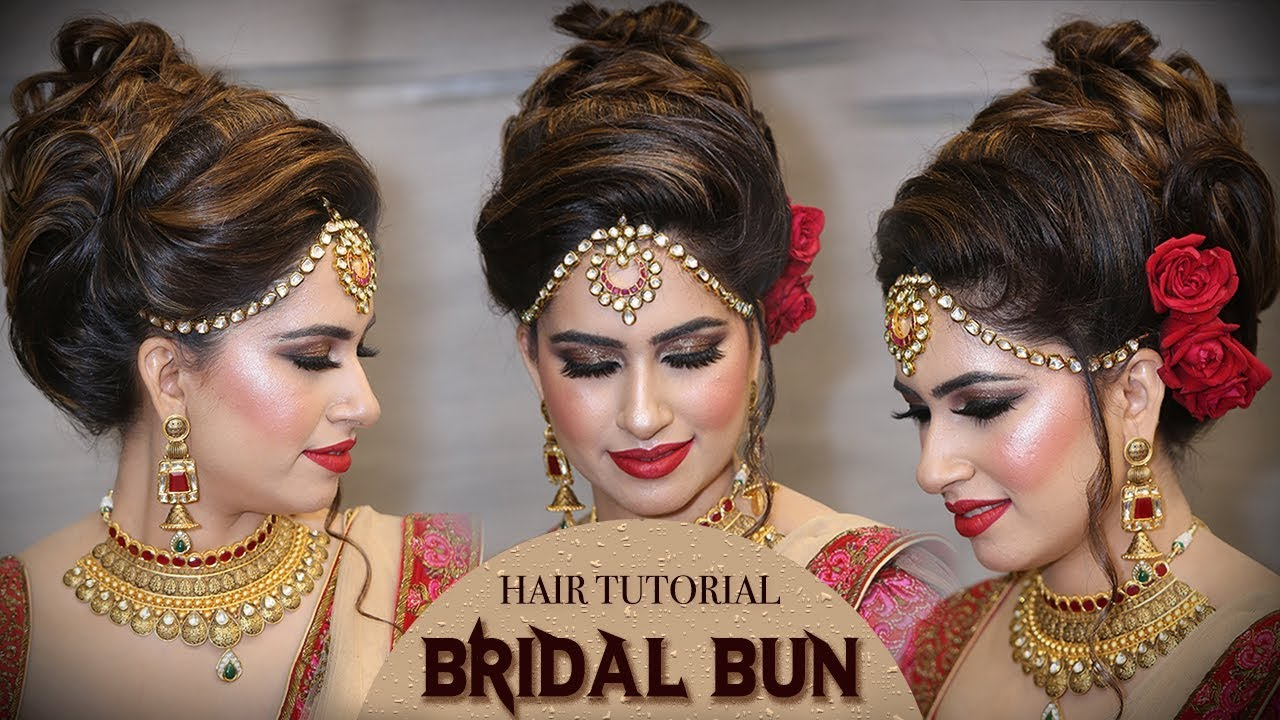 Bridal High Bun Hairstyle Tutorial Traditional Bridal Hairstyle
