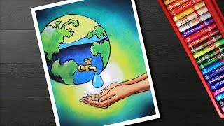 How to draw save water drawing - poster on save water