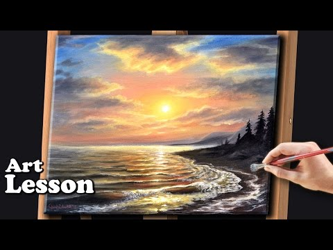 Acrylic Seascape Painting Techniques Sunset At The Beach