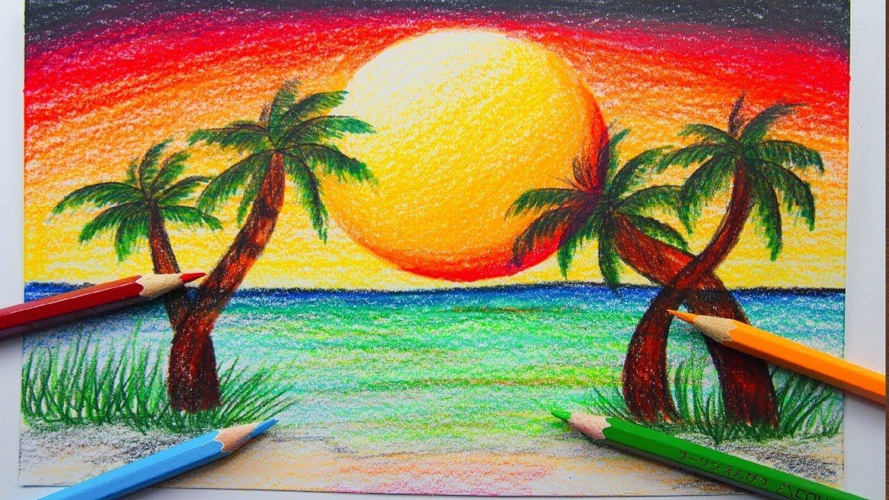 ภาพวาดว วทะเลพระอาท ตย ตก ส ไม How To Draw A Sea Beach Scenery Youtube