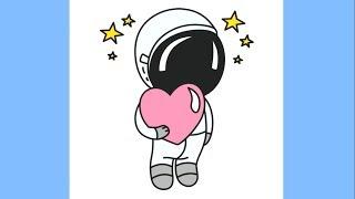 astronaut space cartoon drawing easy draw simple step drawings getdrawings paintingvalley