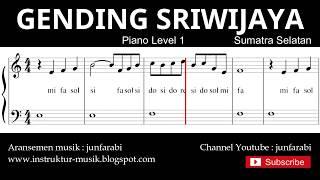 not balok gending sriwijaya - piano level 1 - lagu daerah sumatra selatan - do re mi / sol mi sa si