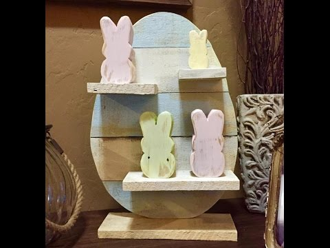 DIY wood Easter egg with Peeps rustic decor idea pallet project