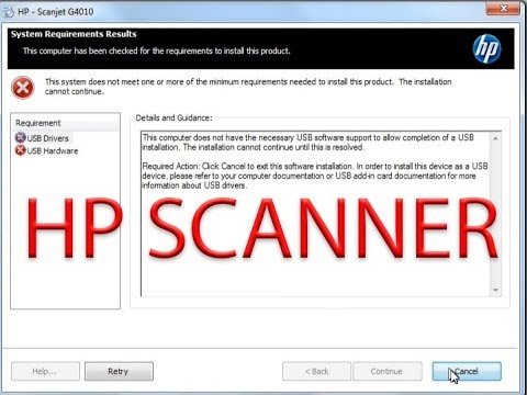 This computer does not have the necessary USB software support to allow |  HP 4010 scanner usb error