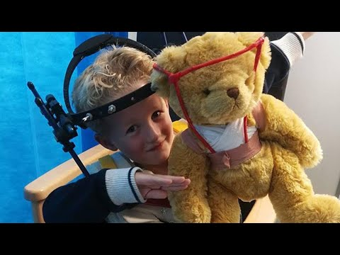 Boy in Neck Brace Gets Teddy Bear Wearing Matching Halo