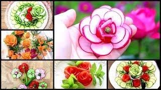 10 Creative Food Ideas | Fruit & Vegetable Flower Carving Garnish