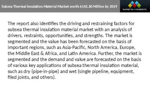 Subsea Thermal Insulation Material Market Regional Trends & Forecast to 2019