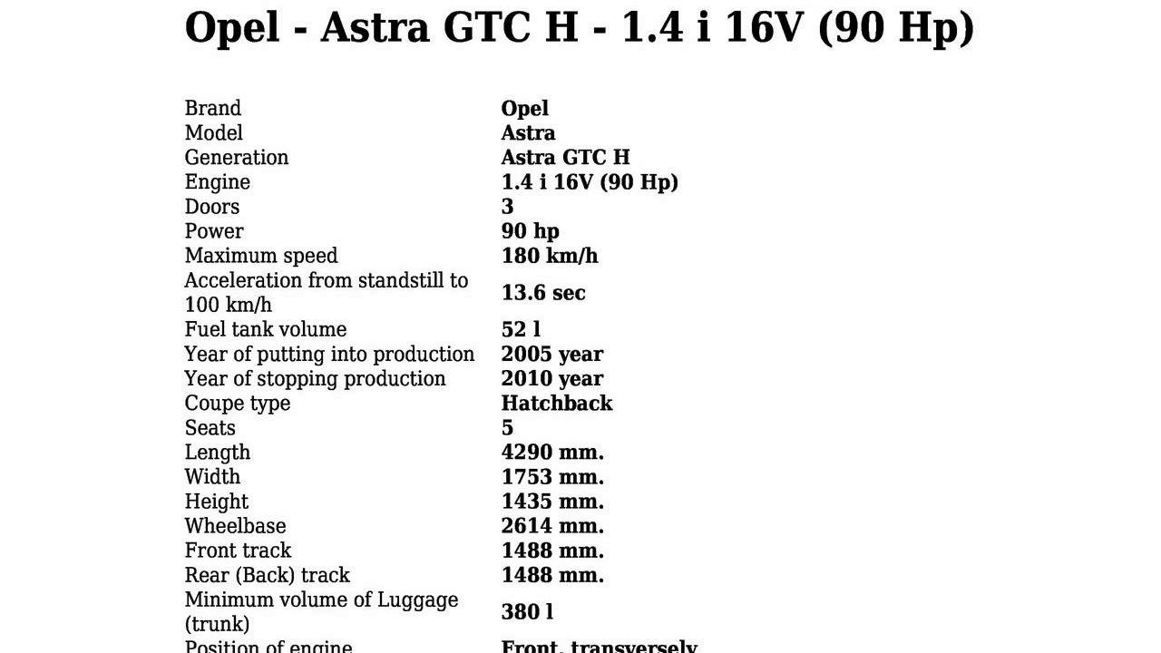 Opel Astra Technical Specifications >> Opel Astra Gtc H 1 4 I 16v 90 Hp Technical Specifications