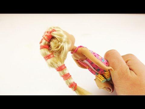 Barbie Frisur selber machen | Coole Frisur für Pupppen oder für Mädchen mit vielen Haargummis