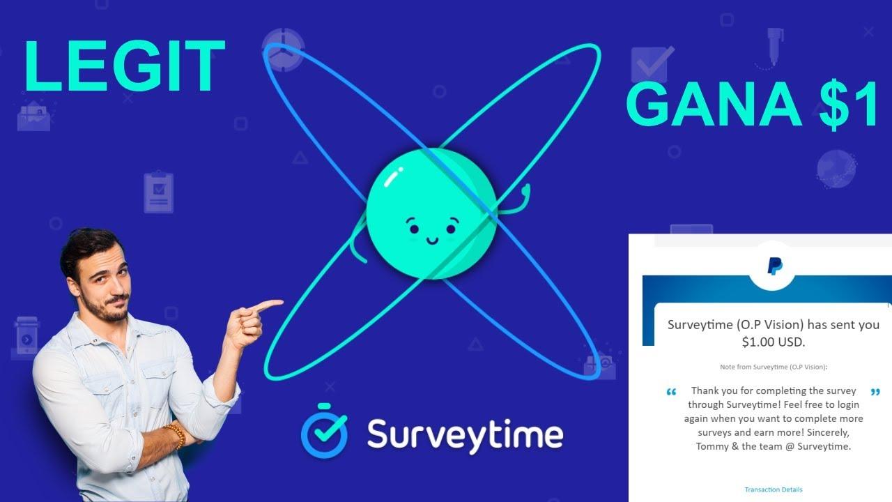 Surveytime Gana 1 USD Inmediatamente a Paypal por encuesta!